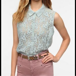 🆕kimchi Blue Button Front Lace Front Top